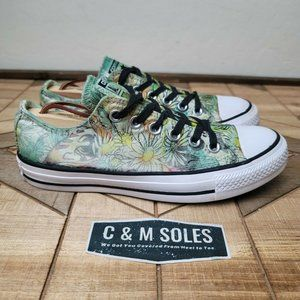 Converse Flowers Floral Low Tops Green Sneake
